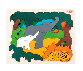Immagine di Puzzle Animali Asiatici 31 Pezzi su 2 Livelli - George Luck for Hape Toys