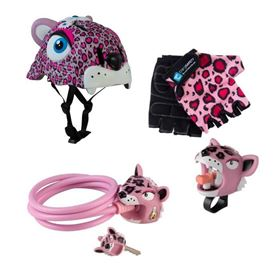 Set Caschetto e accessori Sicurezza in bici Pink Leopard - Crazy Safety