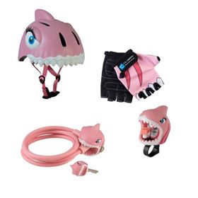 Set Caschetto e accessori Sicurezza in bici Pink Shark - Crazy Safety